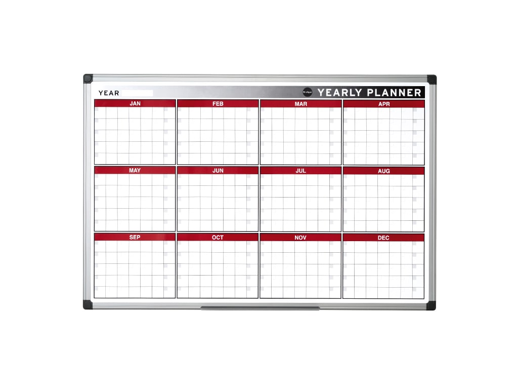 12 Month Magnetic Dry-erase Planner Red and Silver