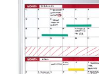 4 Month Magnetic Dry-erase Planner Red and Silver