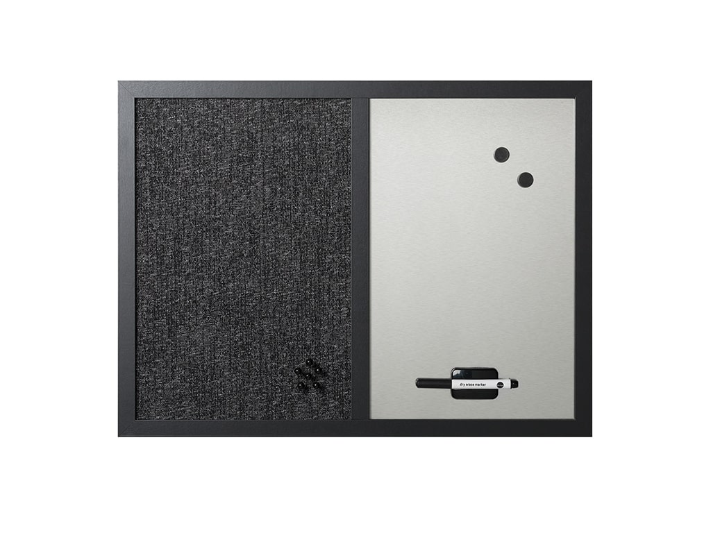 Combo Silver Dry-Erase and Black Fabric Wood Framed Bulletin Board