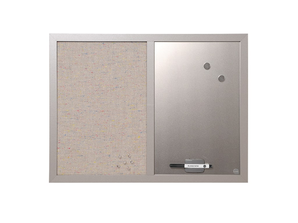 Combo Silver Dry-Erase and Silver Fabric Wood Framed Bulletin Board